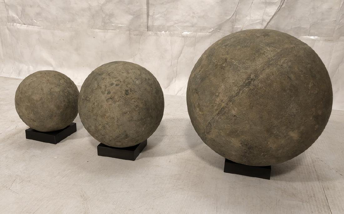 Three Hollow Concrete Spheres Sculptures. Bronze