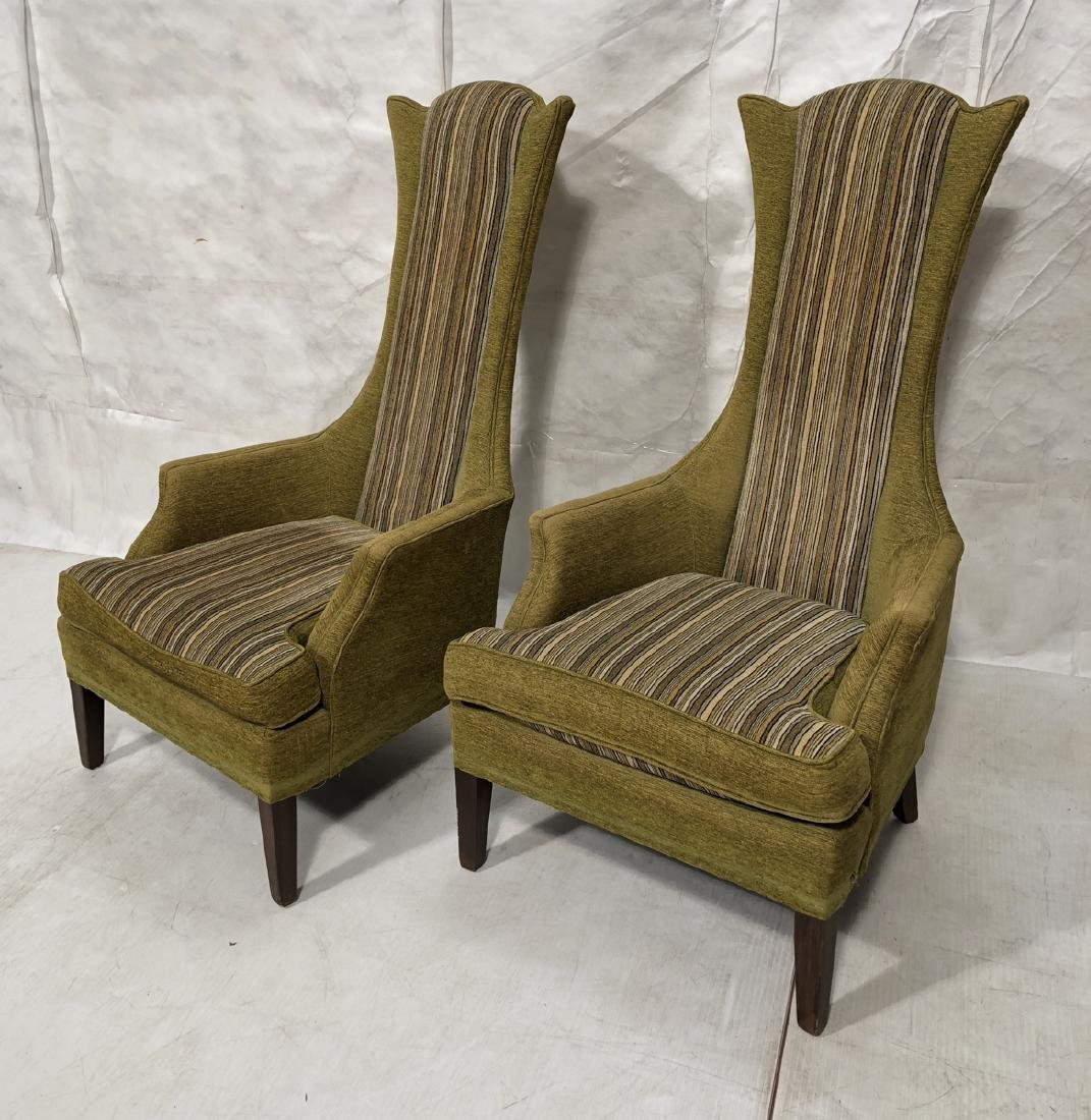 Pr ADRIAN PEARSALL Style Tall Back Lounge Chairs.