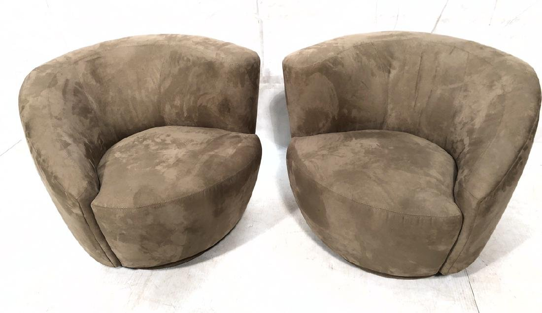 Pr Tan Ultrasuede Modernist Swivel Lounge Chairs.