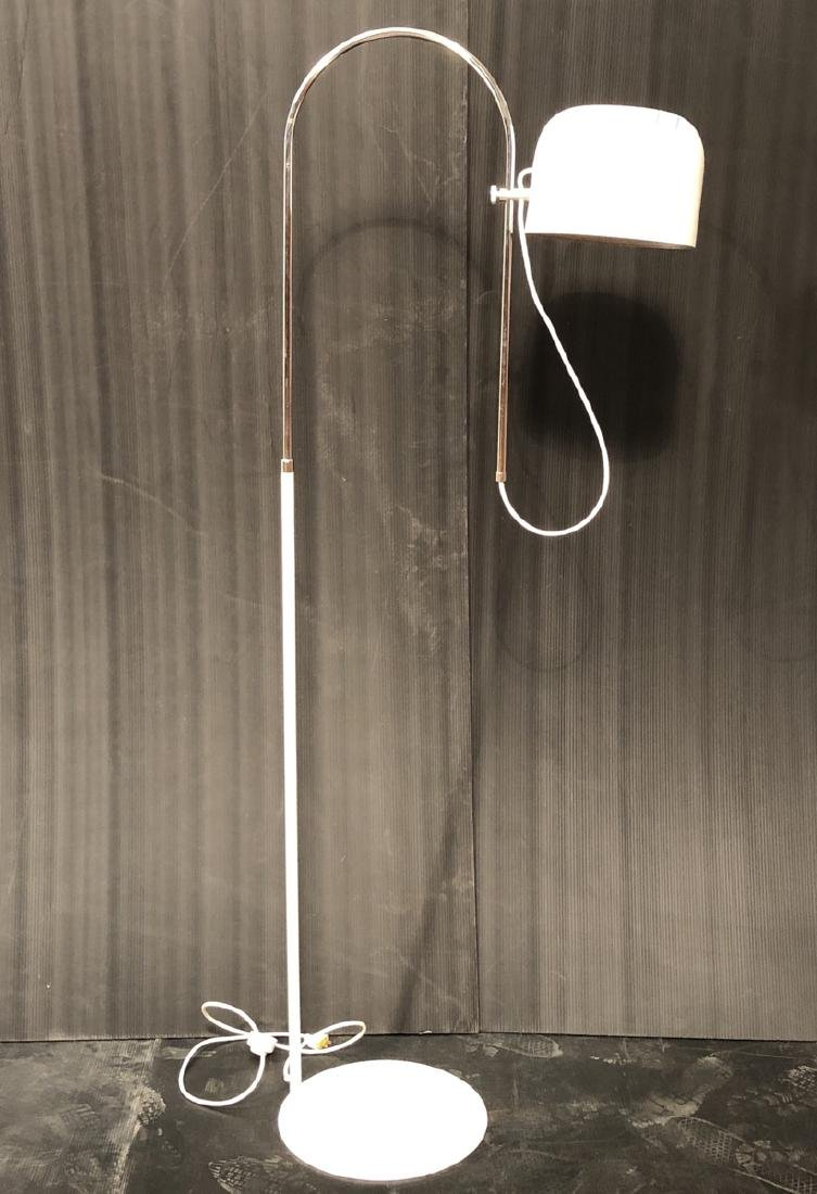 JOE COLOMBO Floor Lamp Arched Chrome Arm on White