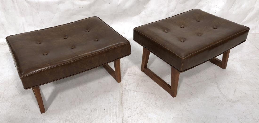 Pr American Modern Walnut Stools Benches. Tufted