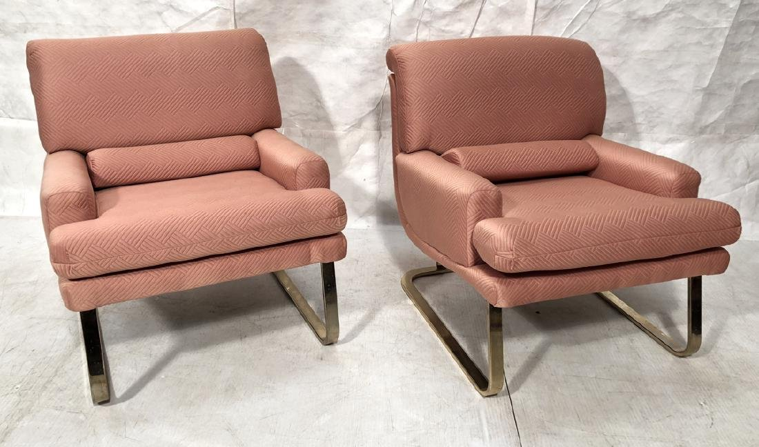 Pr CARSON Pink Upholstered Lounge Chairs. Modern
