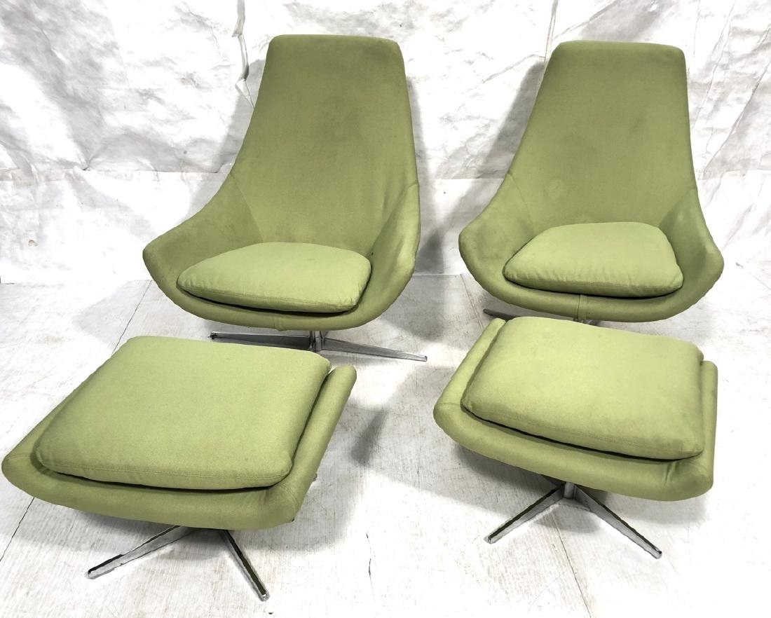 Pair Lime Green Lounge Chairs & Ottomans. Egg sha