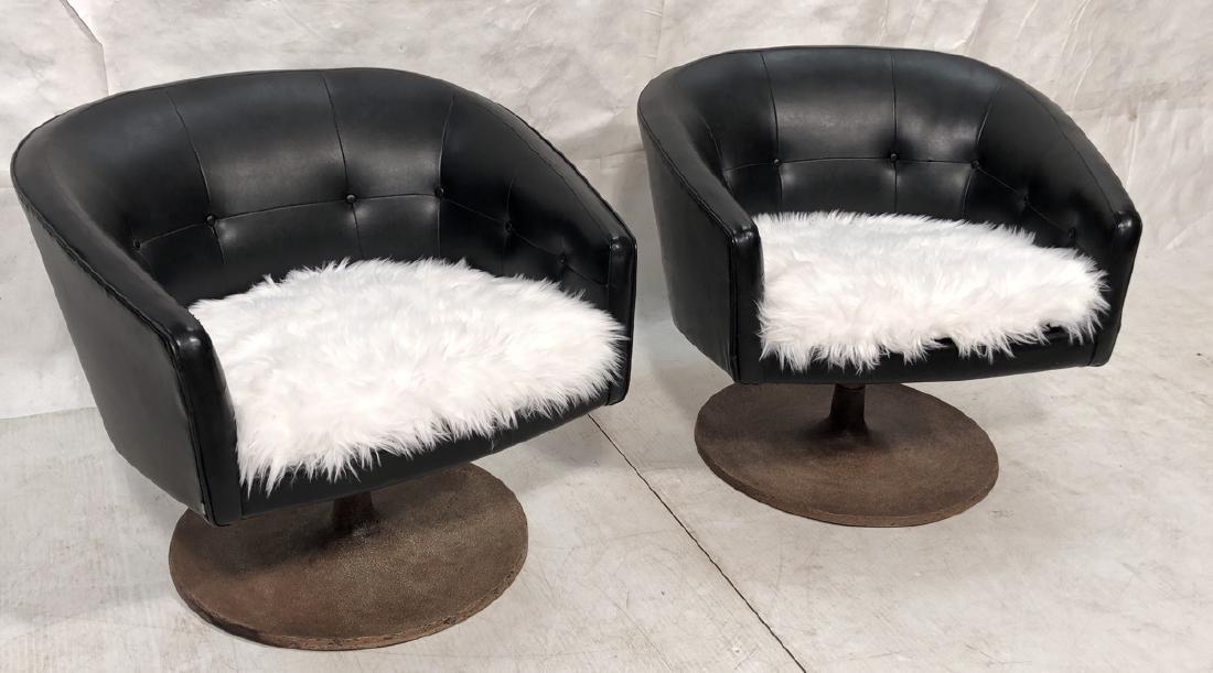 Pr JENS RISOM Barrel Back Lounge Chairs. Tufted B