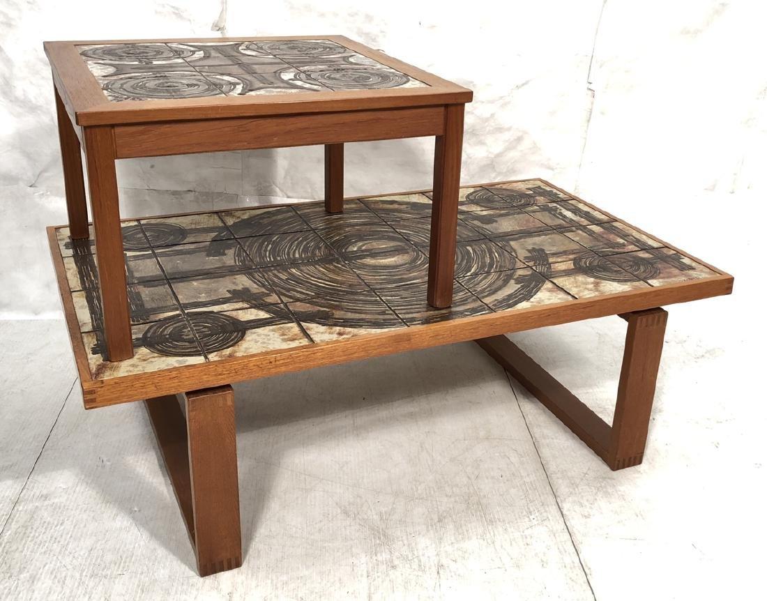 2pc OX ART Tile Top Tables. Danish Modern wood fr