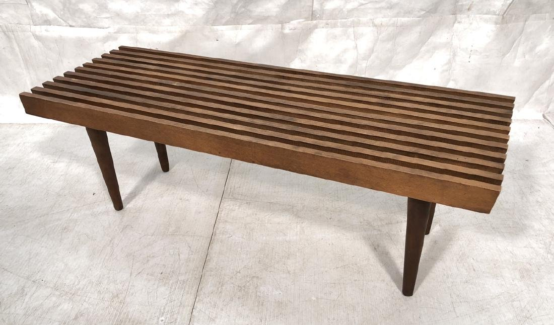 Modern Wood Slat Bench Coffee Table Tapered Peg L