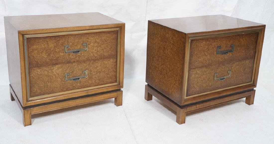 Pr FOUNDERS Burl Wood Campaign Style Night Stands