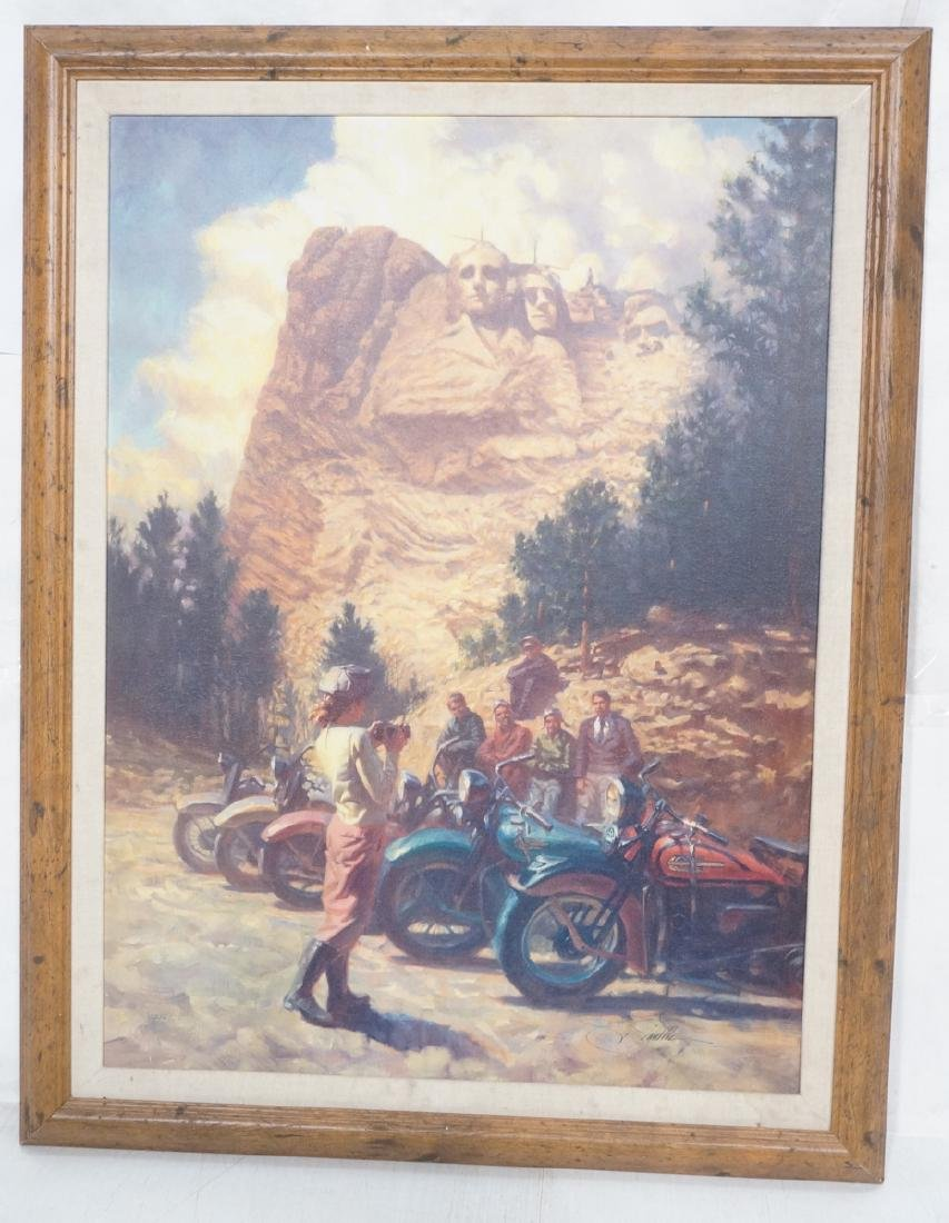 David UHL Signed Oil Painting. Vintage Motorcycle