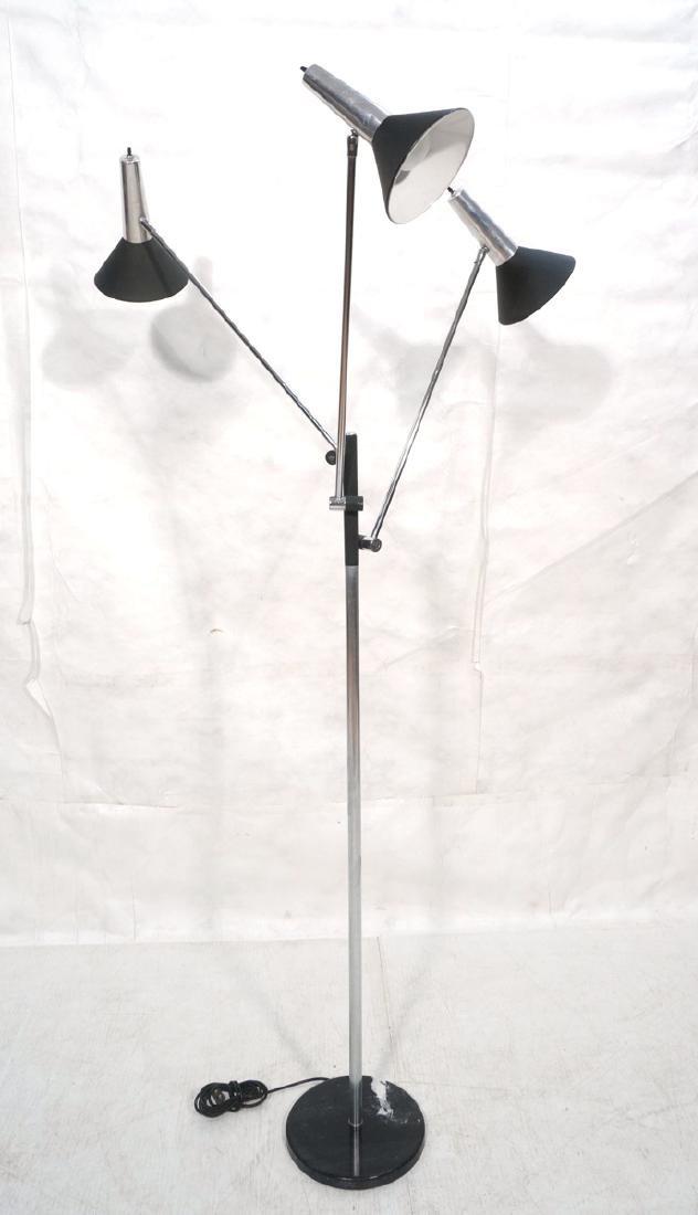 Italian Style Tri Arm Floor Lamp with Cone Shades