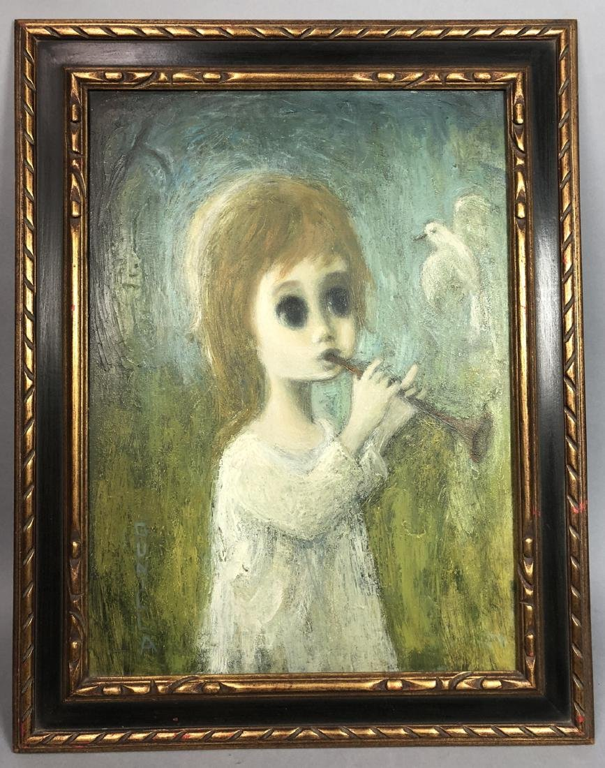 GUNILLA Oil Painting on Canvas of Big Eyed Girl w