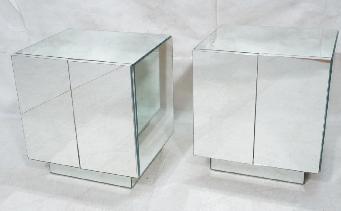 Pair ELLO Attributed Mirrored End Table Night Sta