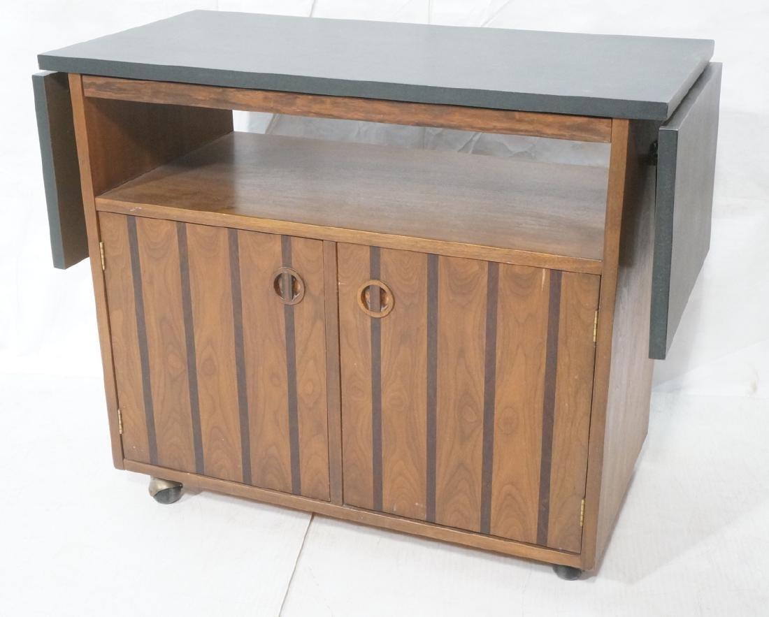 American Modern Walnut Rolling Bar Cart. Black la