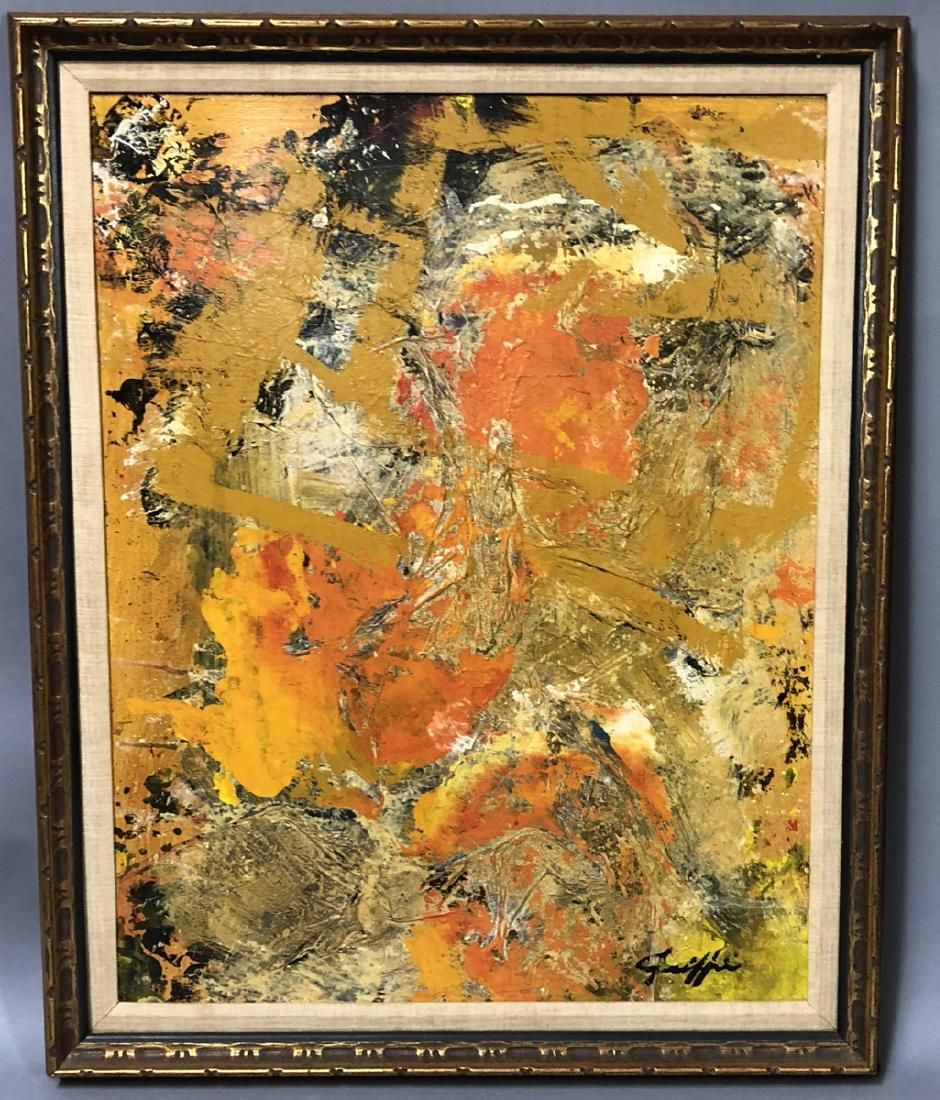 """C. GRIFFIN Modernist Abstract Acrylic Collage """"Sa"""