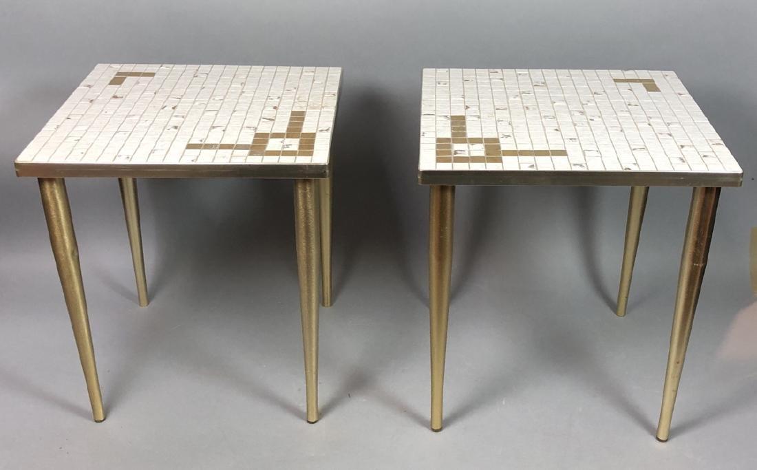 "Pr Small Tile Modern Side End Tables. .75"" white"