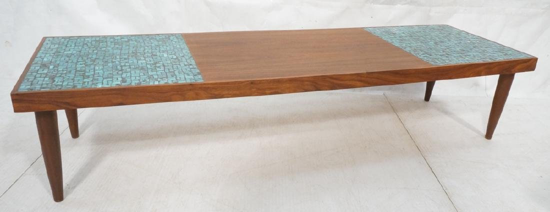 American Modern Walnut Turquoise Tile Coffee Tabl