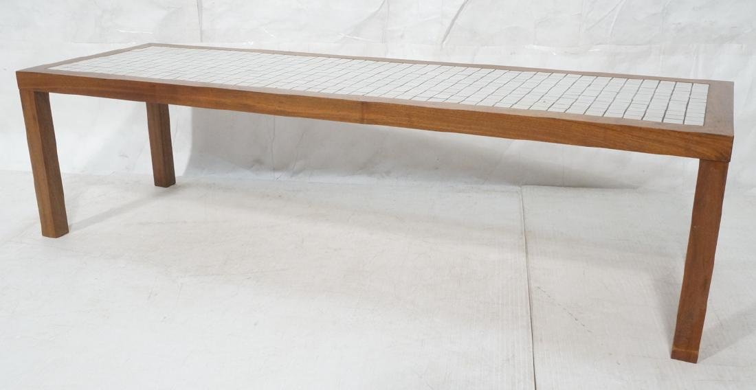 American Modern Walnut Ceramic Tile Coffee Table.