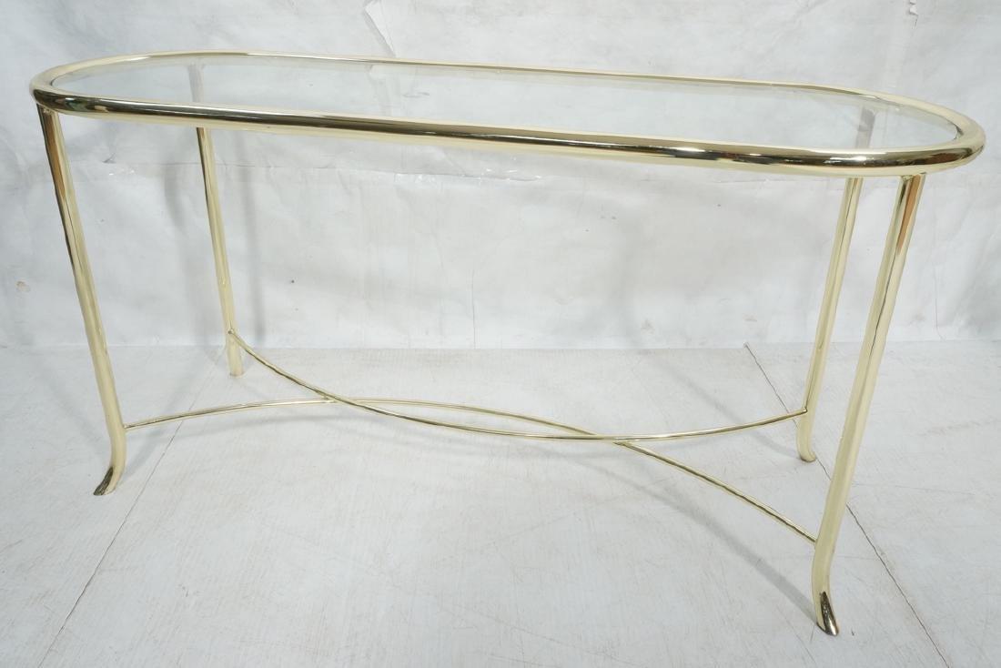 Modern Racetrack Form Brass Glass Hall Sofa Table