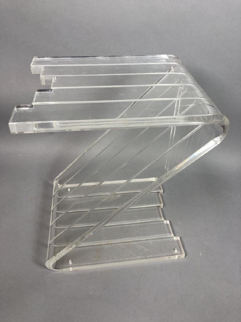 Modern Lucite Z End Table. Modern form with five