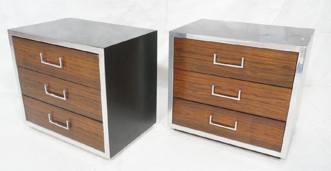 Pr Modern Rosewood Chrome Night Stands End Tables