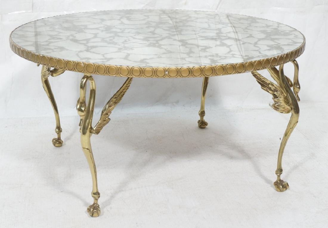 Brass Swan Leg Round Cocktail Coffee Table. Oil s