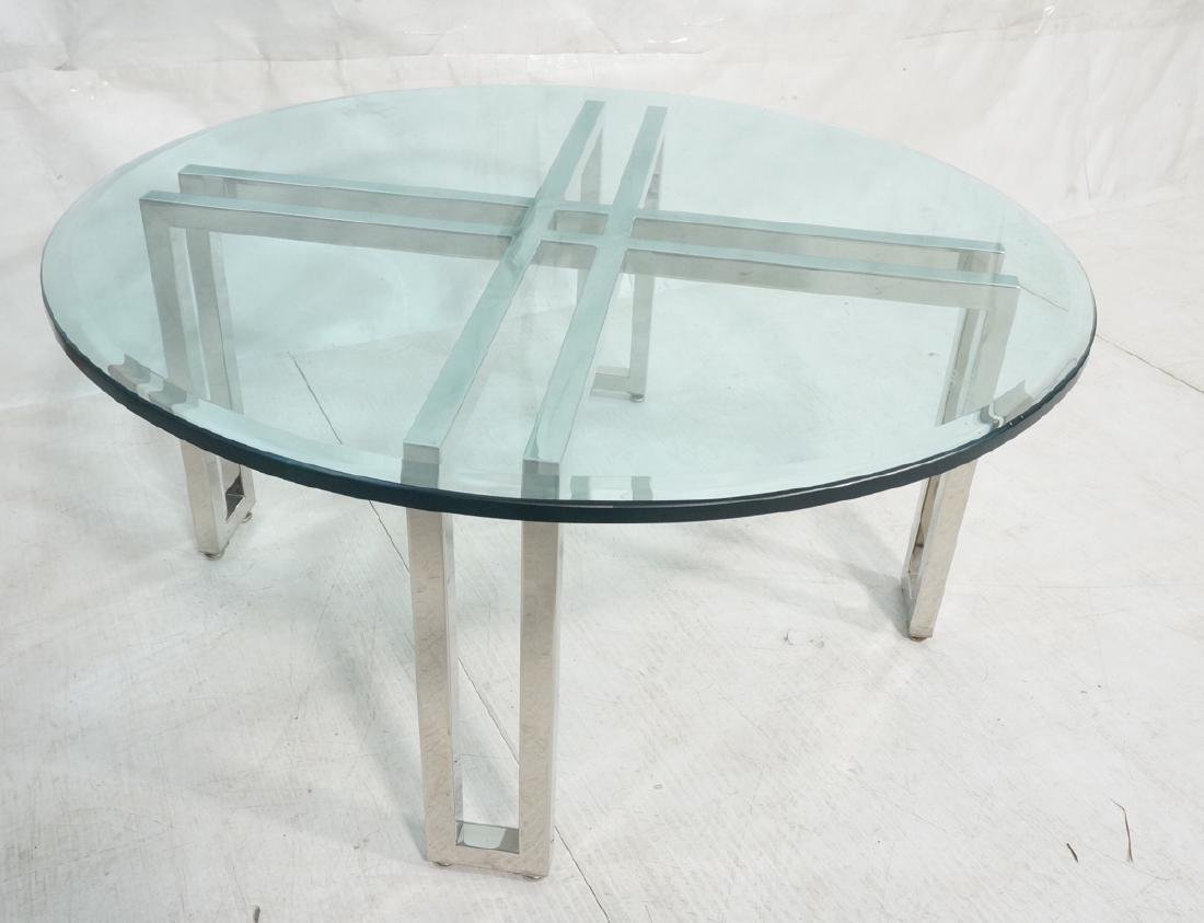 Modern Chrome & Glass Round Coffee Cocktail Table
