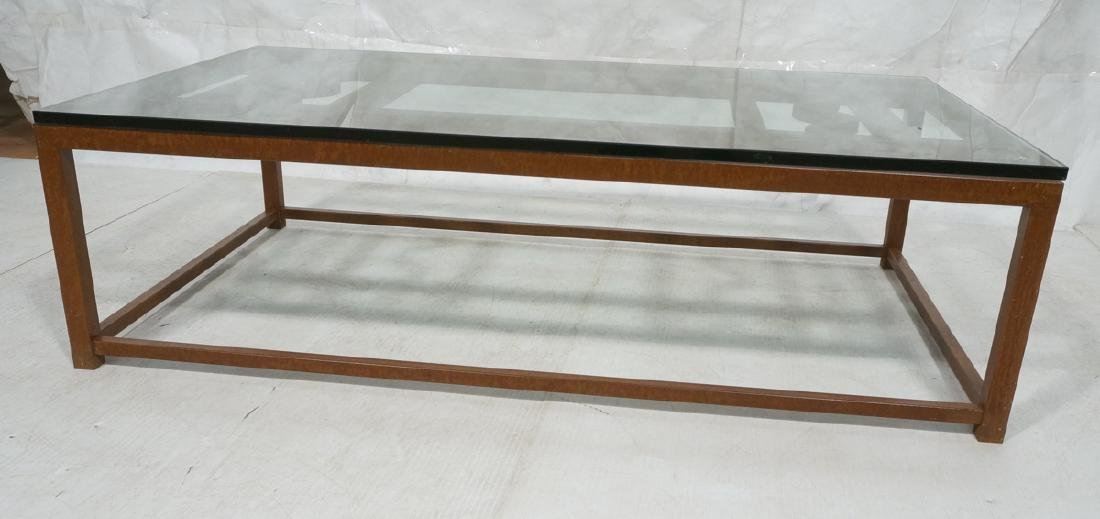 LORIN MARSH Steel Glass Top Cocktail Table. LORIN