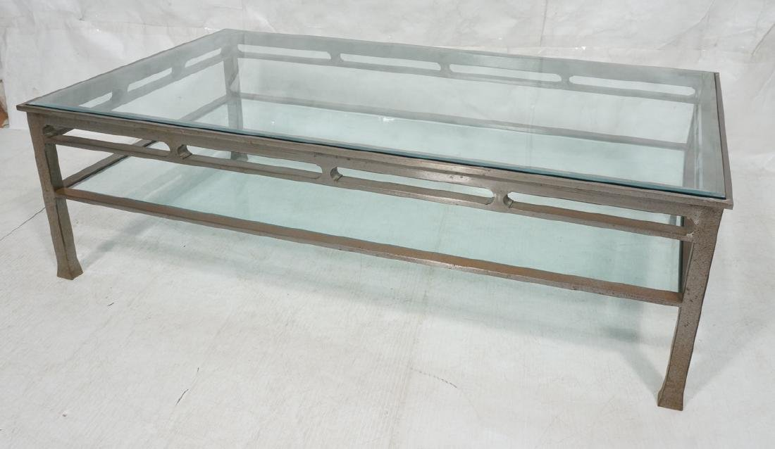 Industrial Steel Glass Top Oversized Coffee Table