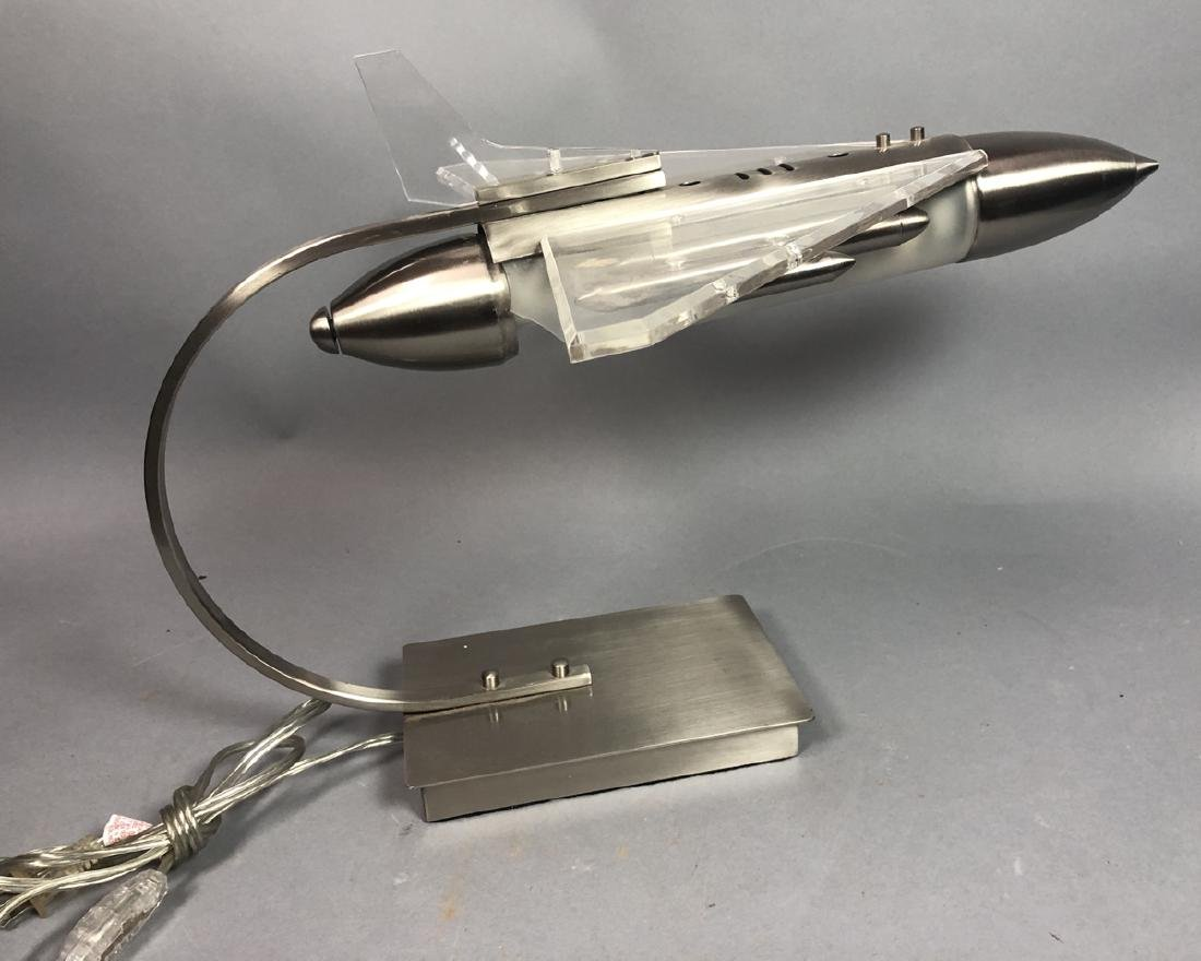 Figural Airplane Stainless Lucite Table Lamp.
