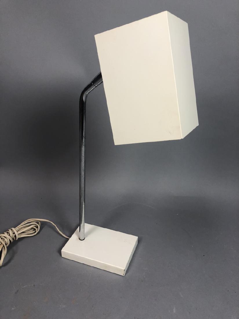 White Enamel Chrome Desk Table Lamp. Italian styl