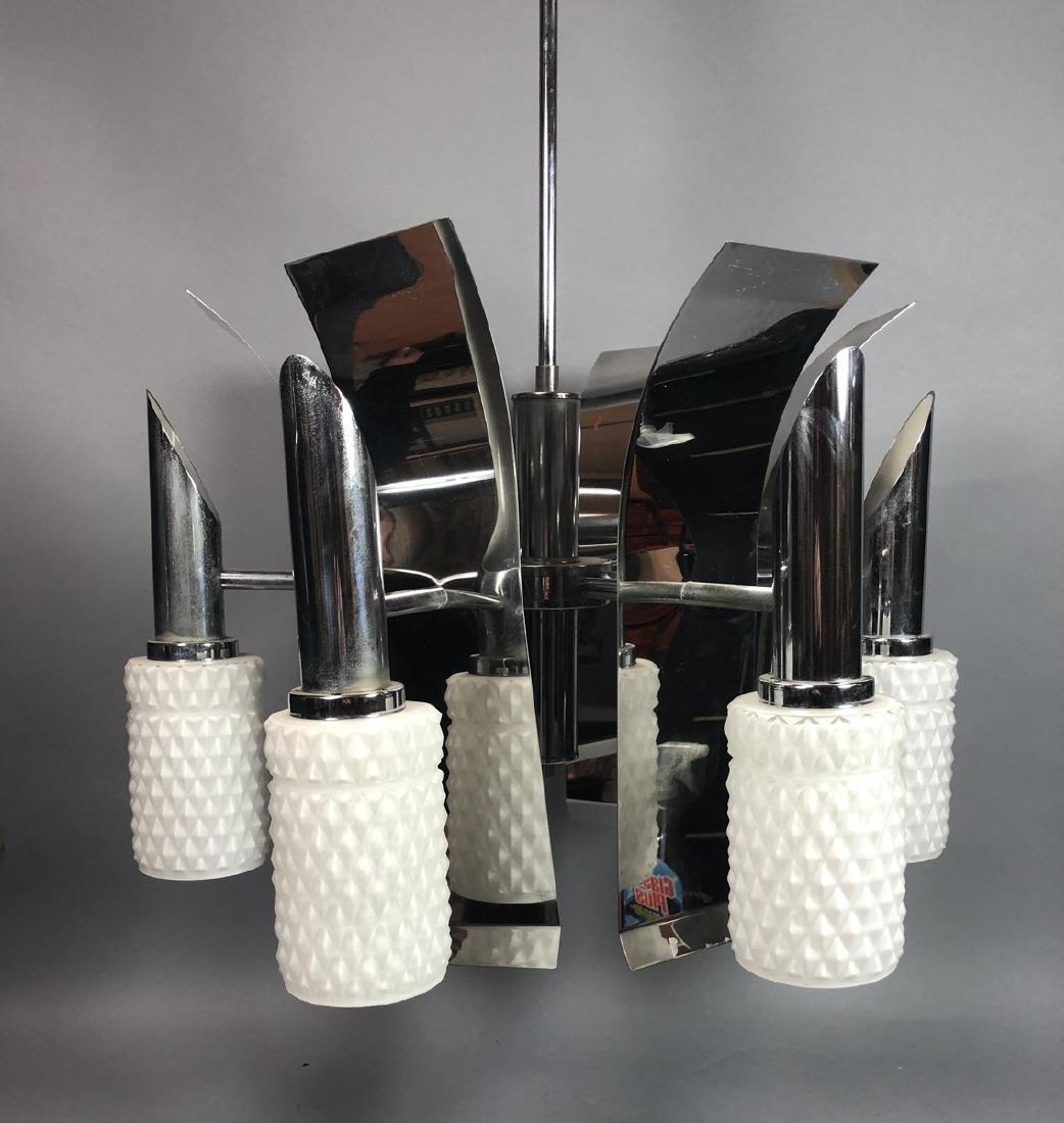 70s Modern Chrome Glass Chandelier. 6 arm fixture