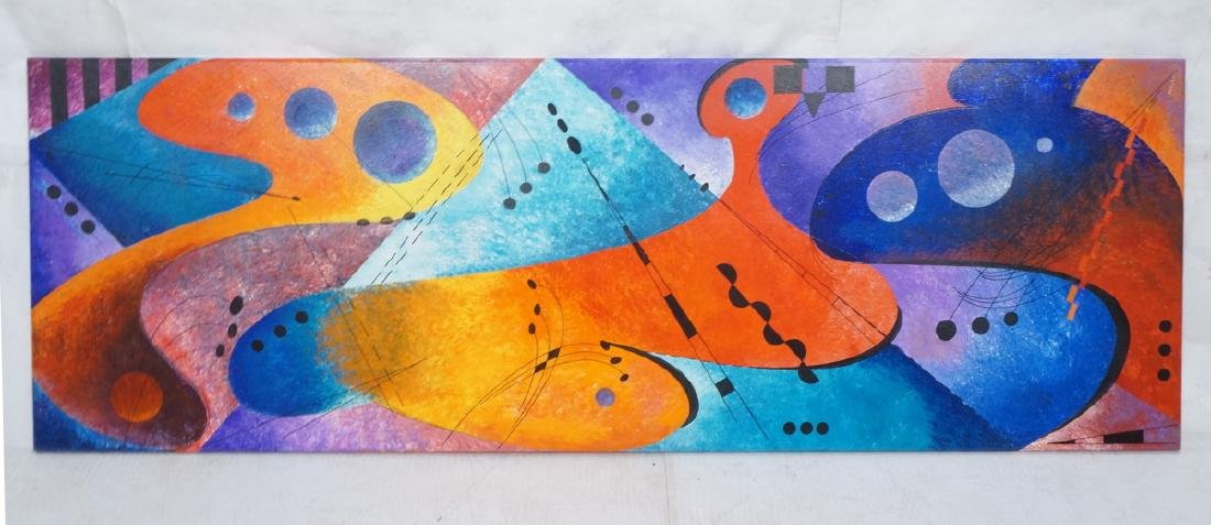 Colorful Space Age Abstract Oil Painting. Bright