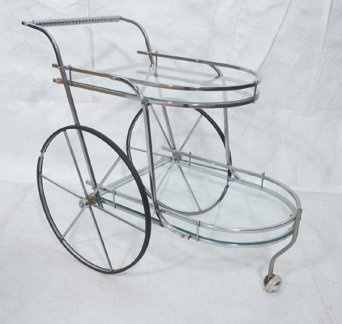 Chrome & Glass Modern Rolling Bar Tea Cart. Thin