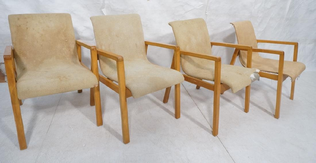 Set 4 ALVAR AALTO Blond Open Arm Lounge Chairs. A