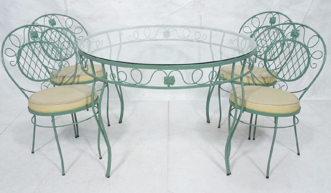 5pc Green Iron Outdoor Patio Dining Set. Round ta