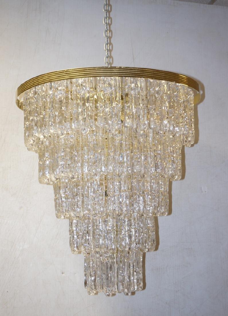 Italian Modernist 5 Tier Glass Prism Chandelier.
