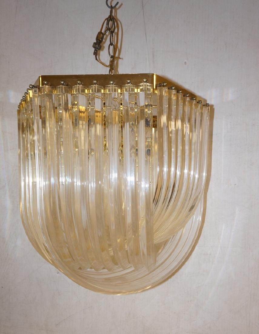 80s Contemporary Arched Lucite Chandelier. Hexago