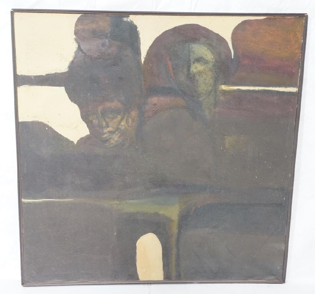 Dark Textured Abstract Modernist Oil Painting. Fa