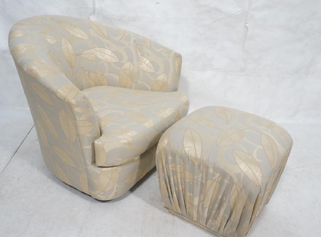 CARTER Modern Swivel Lounge Chair & Pouf Ottoman.