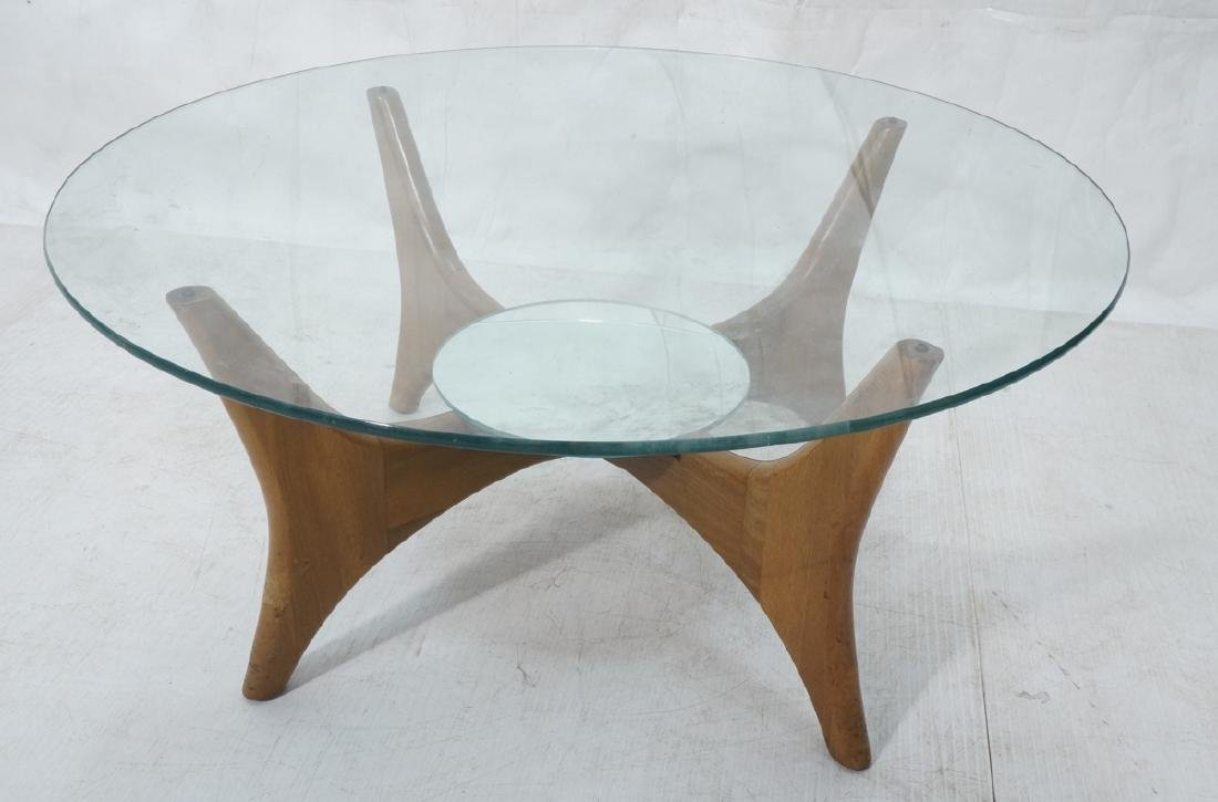 Pearsall Style Oak Glass Mirror Coffee Cocktail T