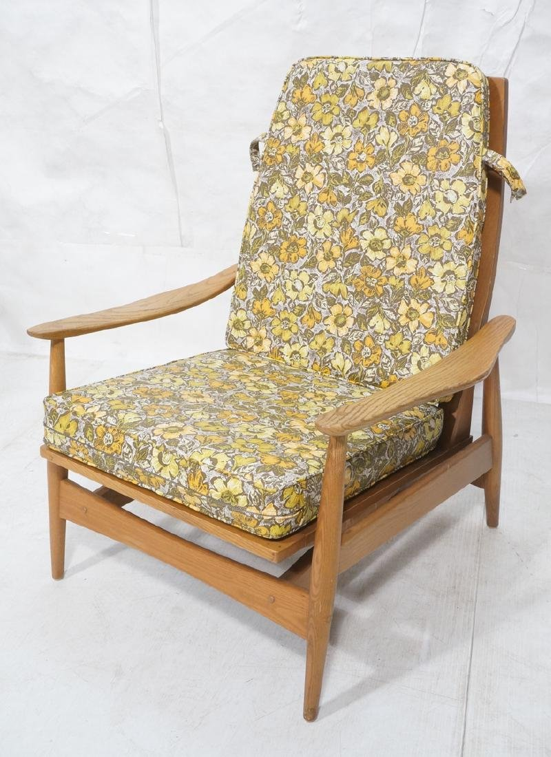 Modern Oak Tall Back Lounge Chair. Rocking spring