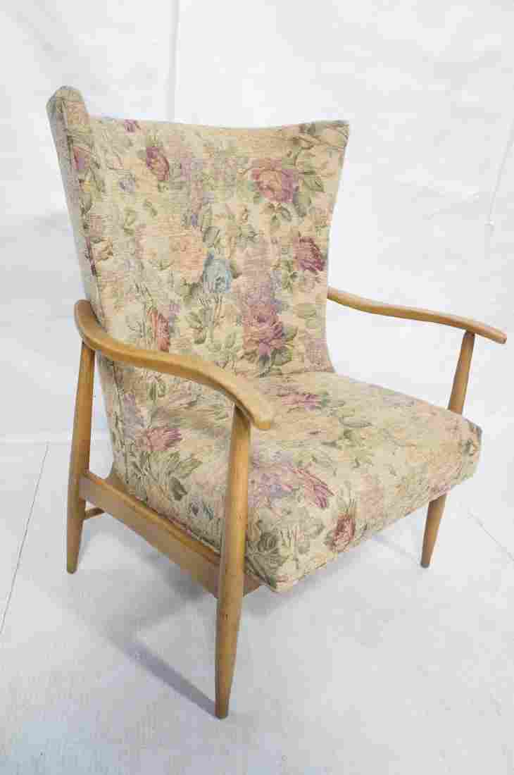 Tall Back Floral Upholstered Lounge Chair. Flared