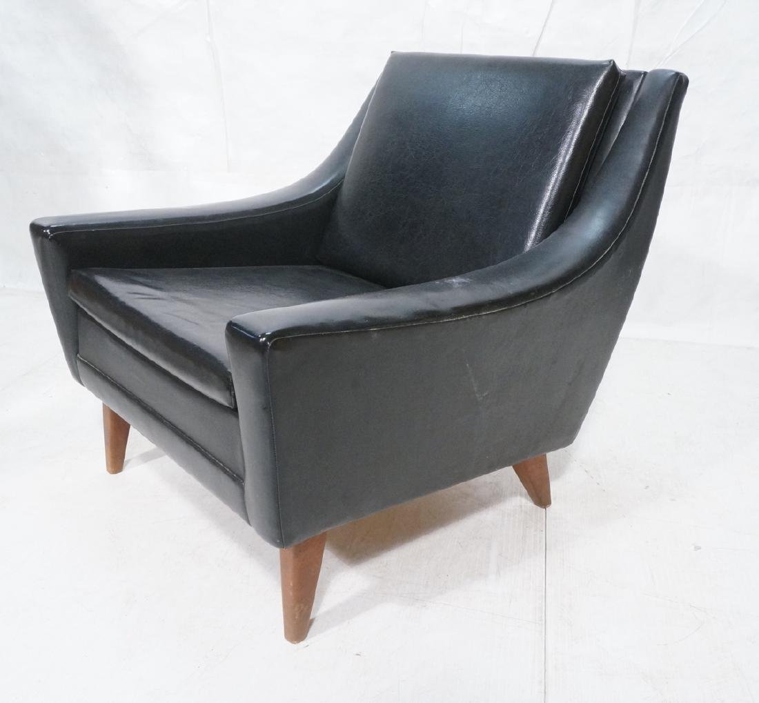 Black Vinyl Modern Lounge Chair. Sloped wide arms