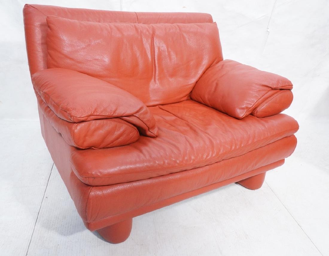 Oversized Red Leather Lounge Chair. Textured red