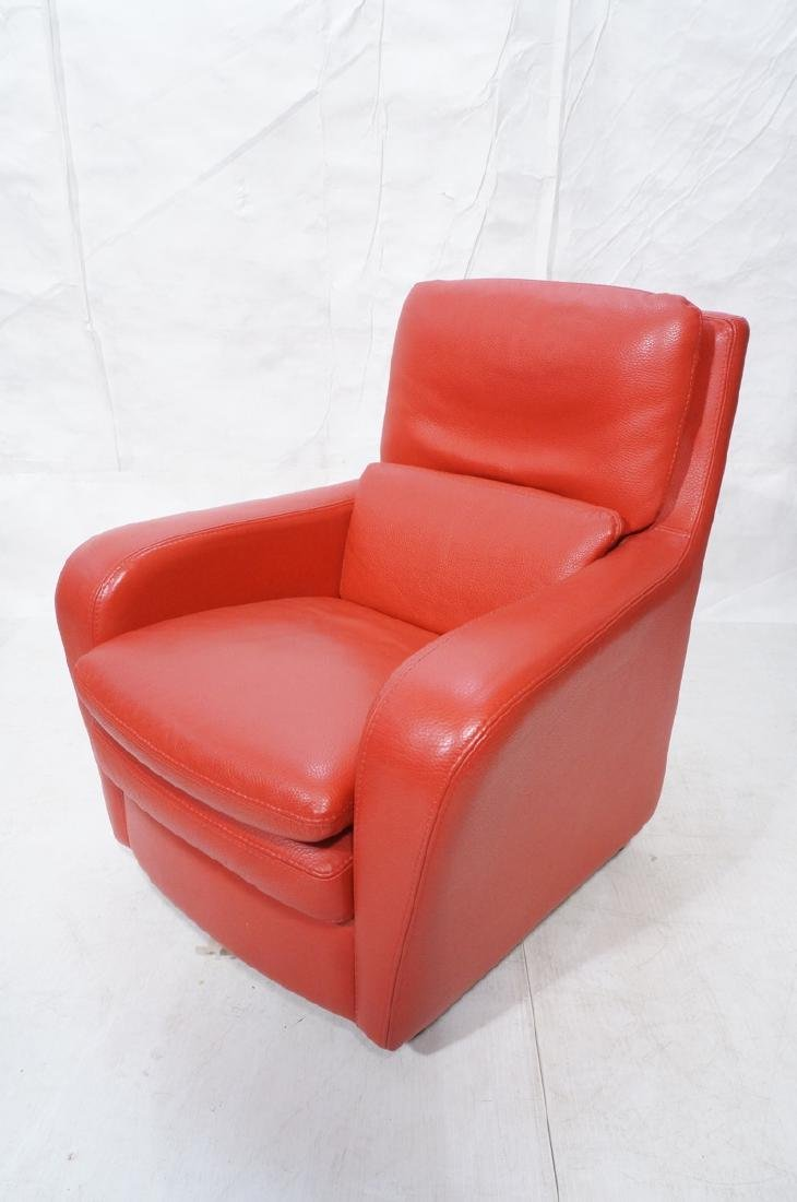 ROCHE BOBOIS Red Pebble Leather Lounge Chair. Sty