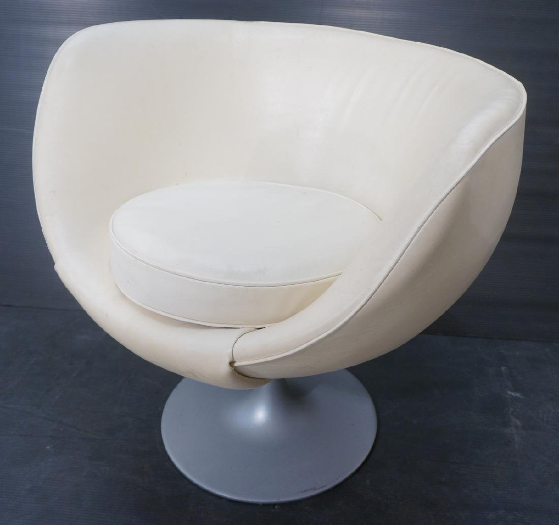 White vinyl OVERMAN Style Swivel Lounge Chair. Si