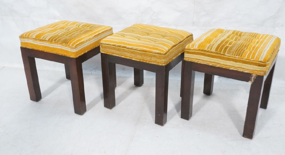 Set 3 DIRECTIONAL Dark Wood Stools Benches. Squar