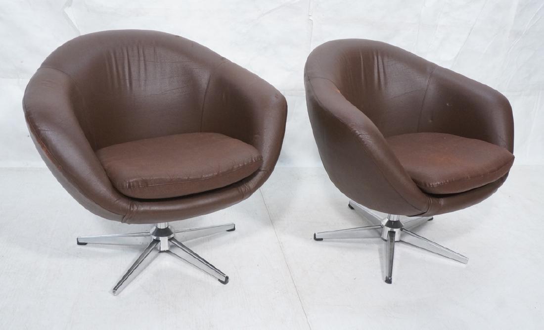 Pr OVERMAN Style Purple Swivel Lounge Chairs. Bar