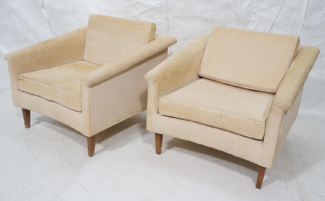 Pr Off White Modern Upholstered Lounge Chairs. Cu