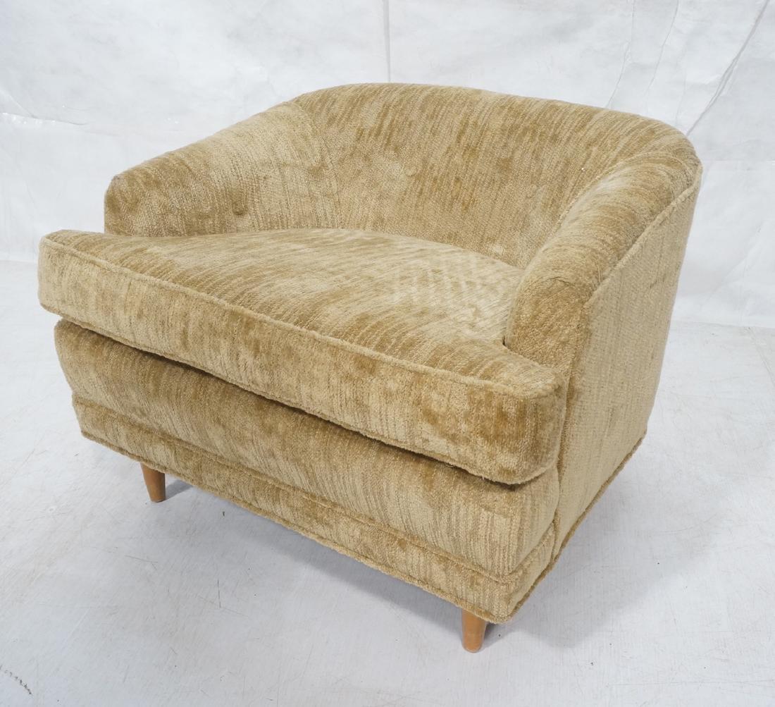Modern Barrel Back Low Lounge Chair. Plush textur
