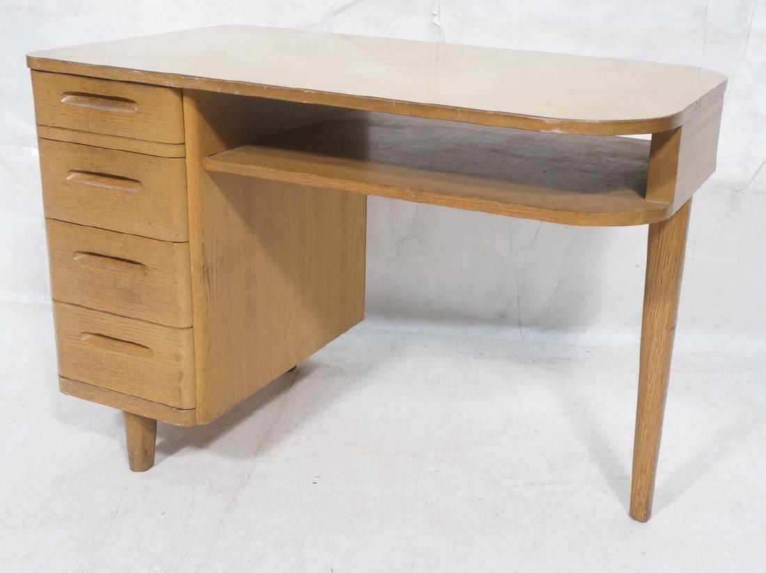 Modern Oak 3 Drawer Desk Art Moderne Style. Wood